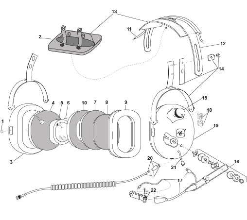 products david clark company worcester, ma Aviation Headset Schematic p n 40696g 01